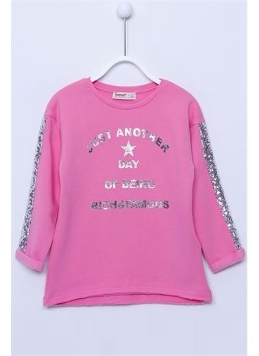 Silversun Kids Sweat Shirt Örme Uzun Kollu Parlak Baskılı Kolları Pul Şeritli Sweatshirt Kız Çocuk Js-213051 Pembe